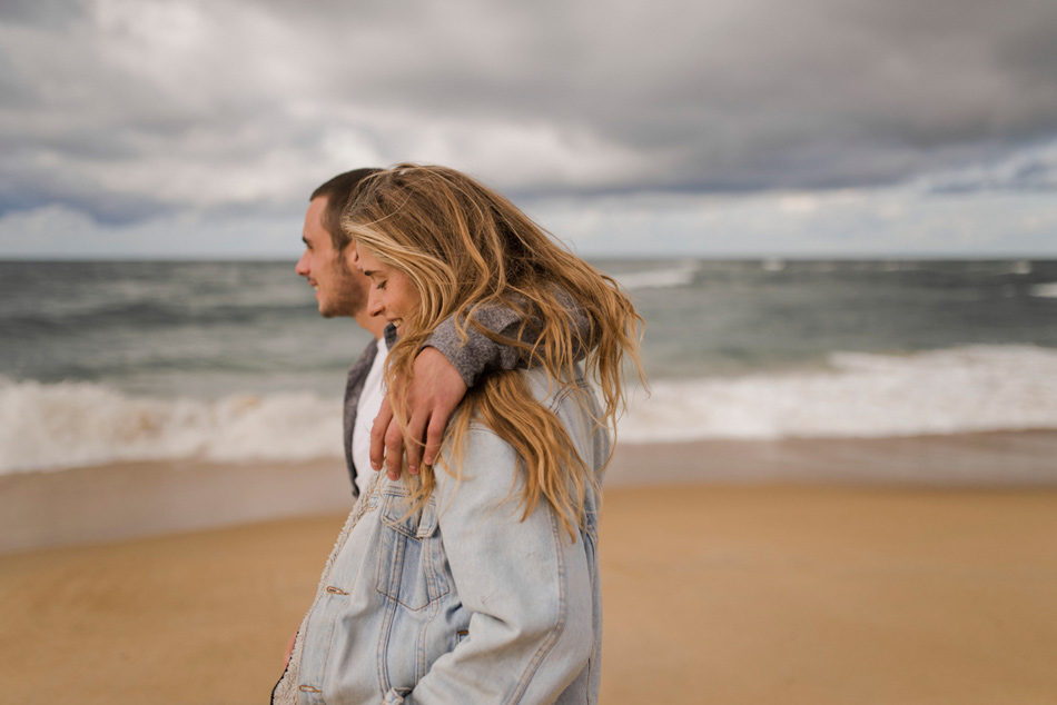 cloudy and windy engagement shoot in France