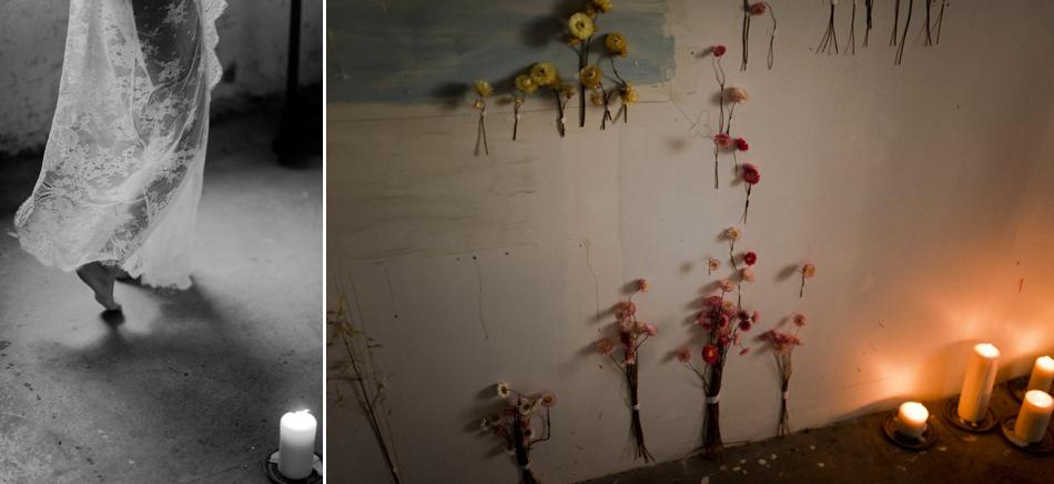 decoration murale mariage fleurs sechées