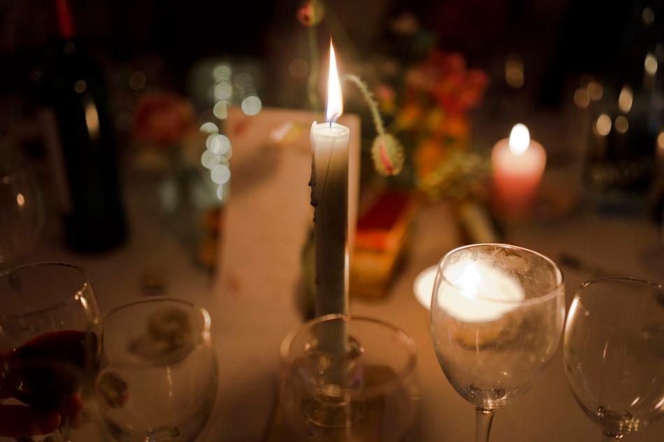 éclairage bougie table de mariage