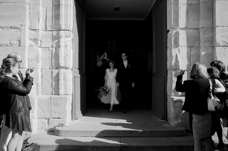 juste avant la sortie de l'église mariage