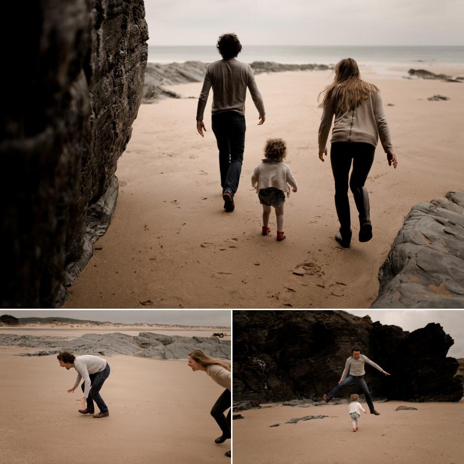 famille cours sur la plage