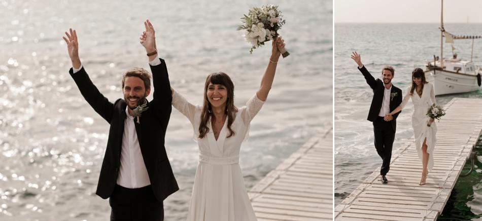 arrivée sur le ponton mariage Formentera