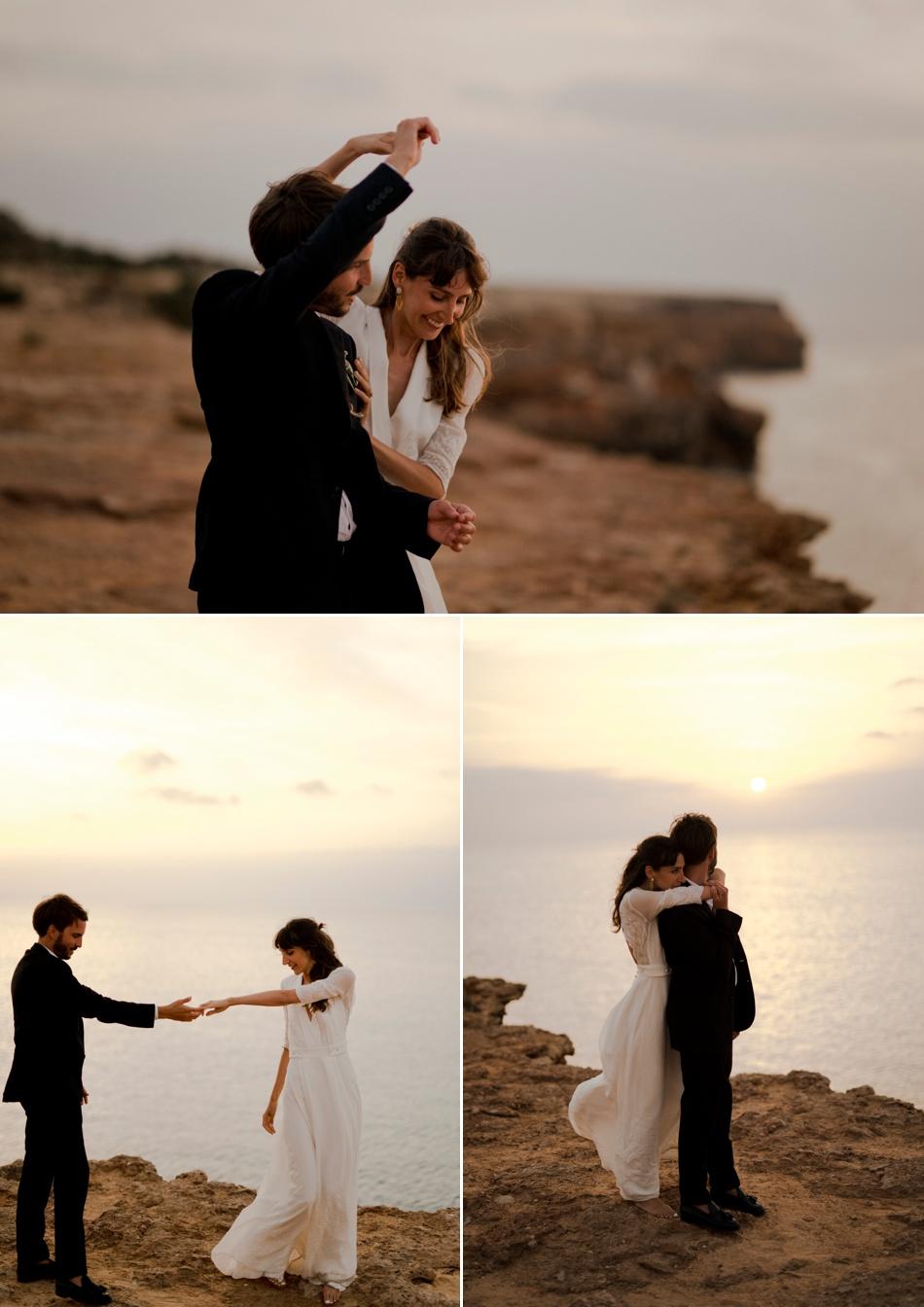 couple au coucher de soleil sur une île