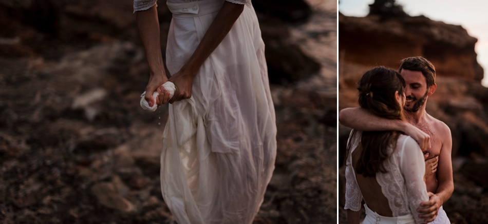 robe de mariée dans l'ocean