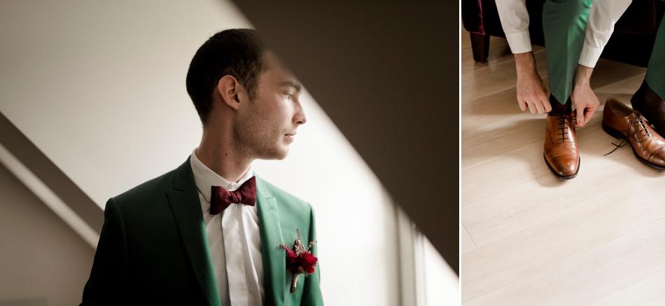 marié en vert et marsala