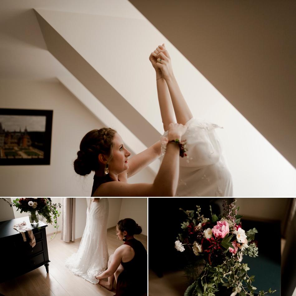 préparatifs de la mariée avec sa temoin
