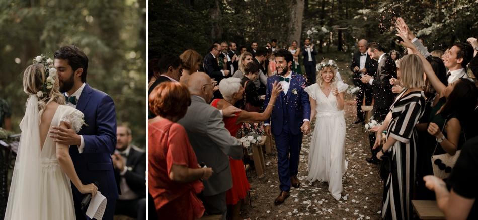 sortie des mariés cérémonie en exterieur confétis