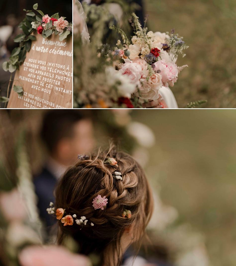 coiffure de mariée bohème avec fleurs