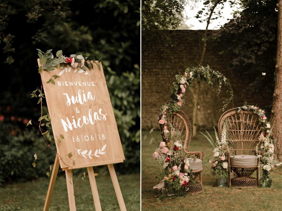 mariage bohème avec fauteuils emmanuelle