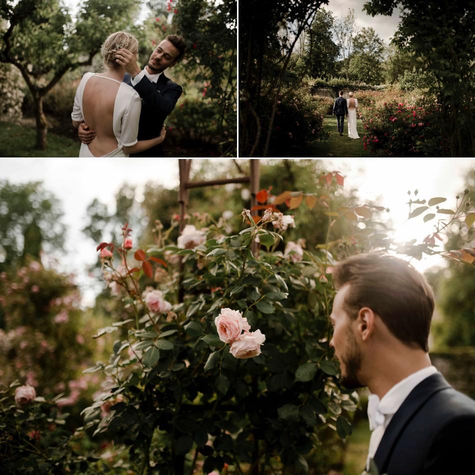 Photo de mariage dans les roses