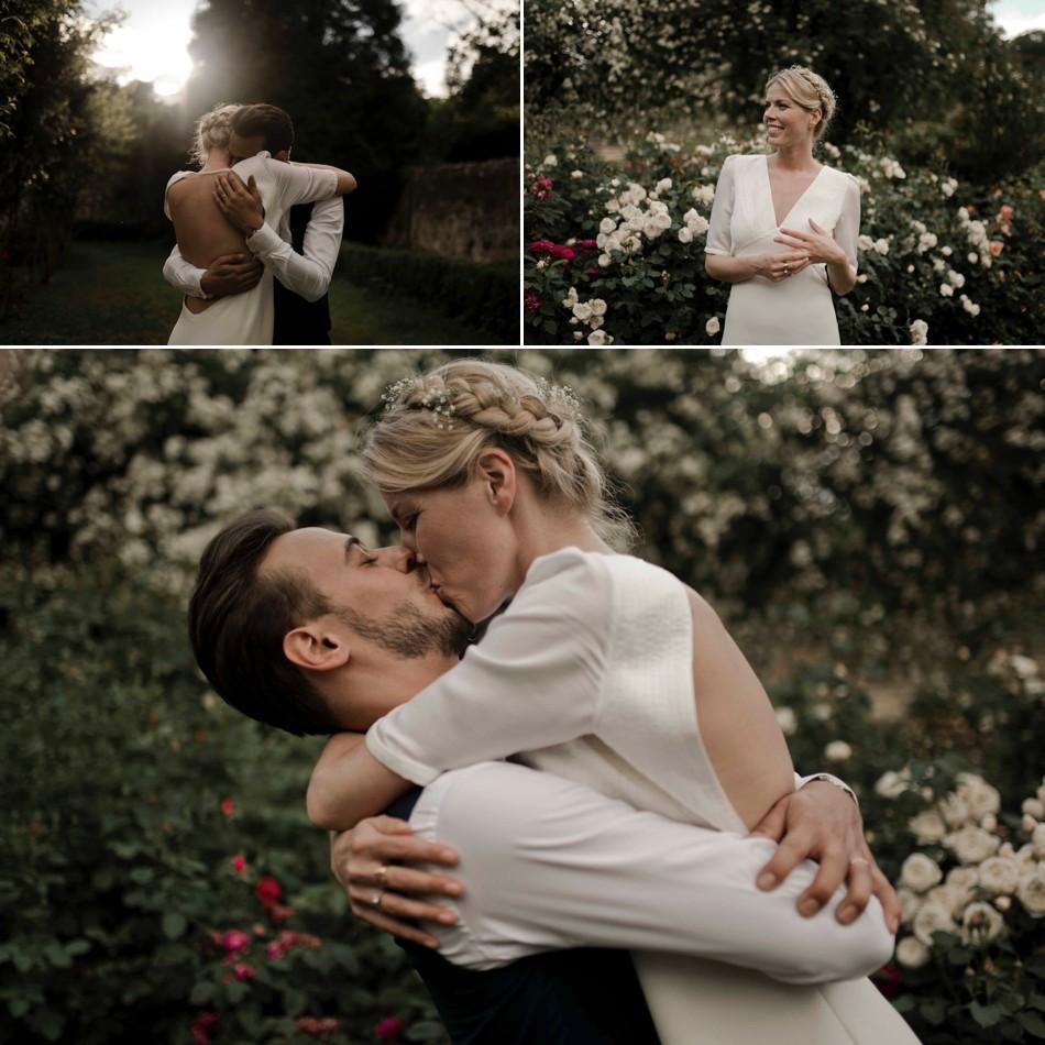 Baiser entre jeunes mariés