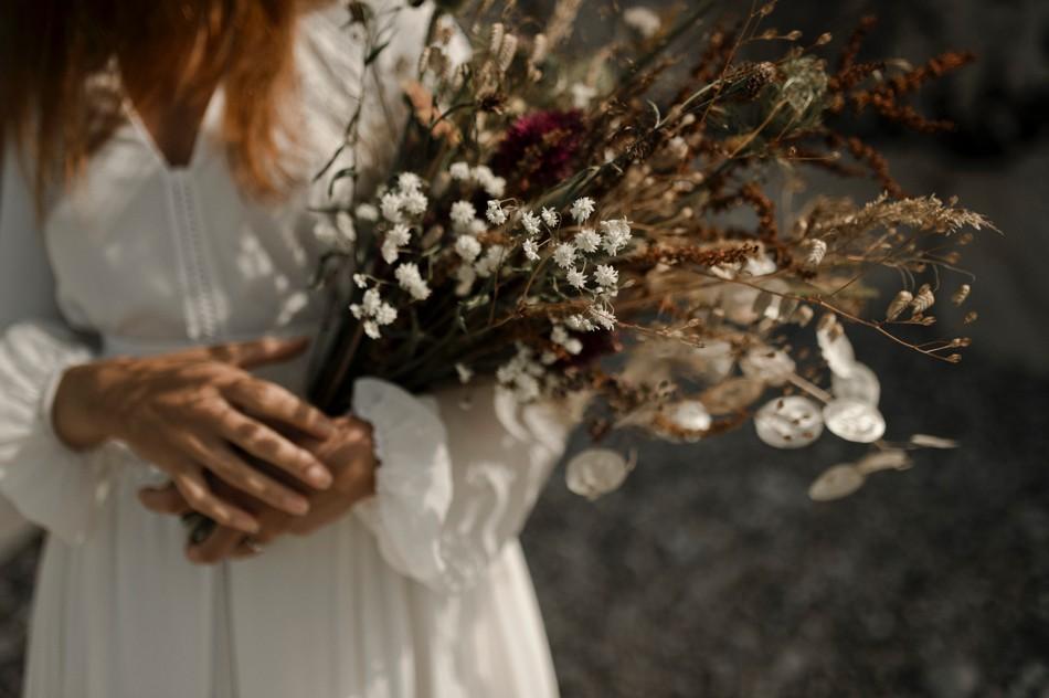 Bouquet de mariée fleus séchées