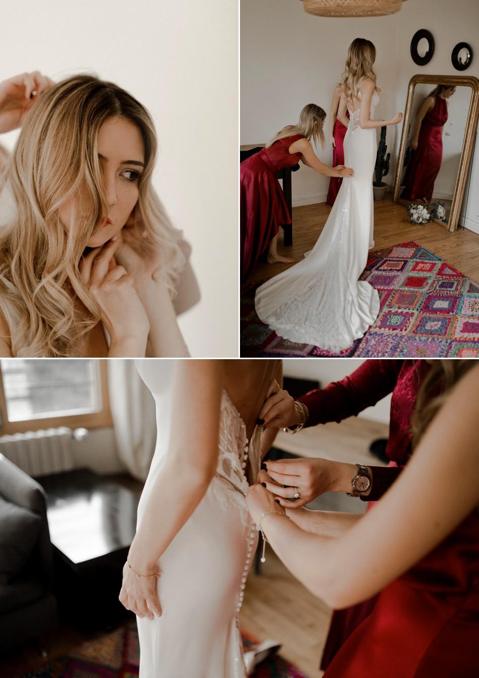 Passage de la robe de mariée