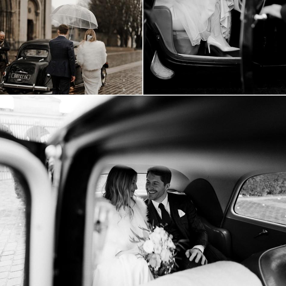 Photos des mariés avec voiture ancienne
