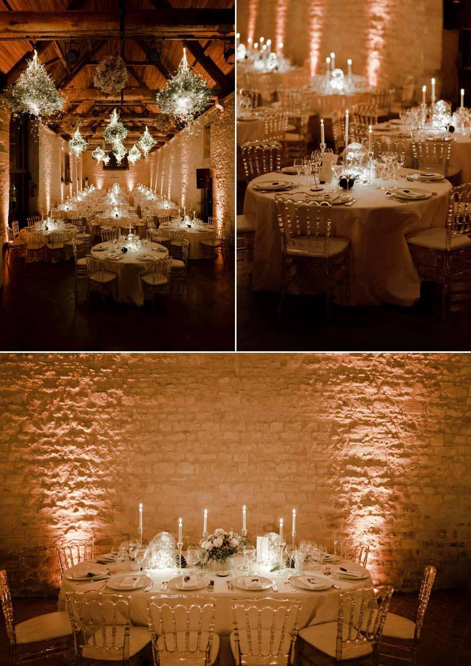 Décoration de salle mariage d'hiver
