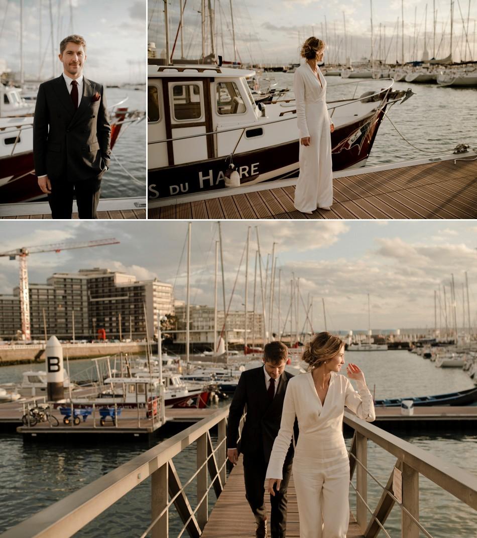 Photos de couple près des bateaux