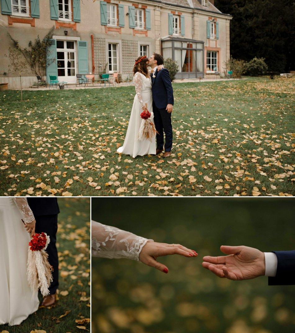 Photos de couple mariage en automne