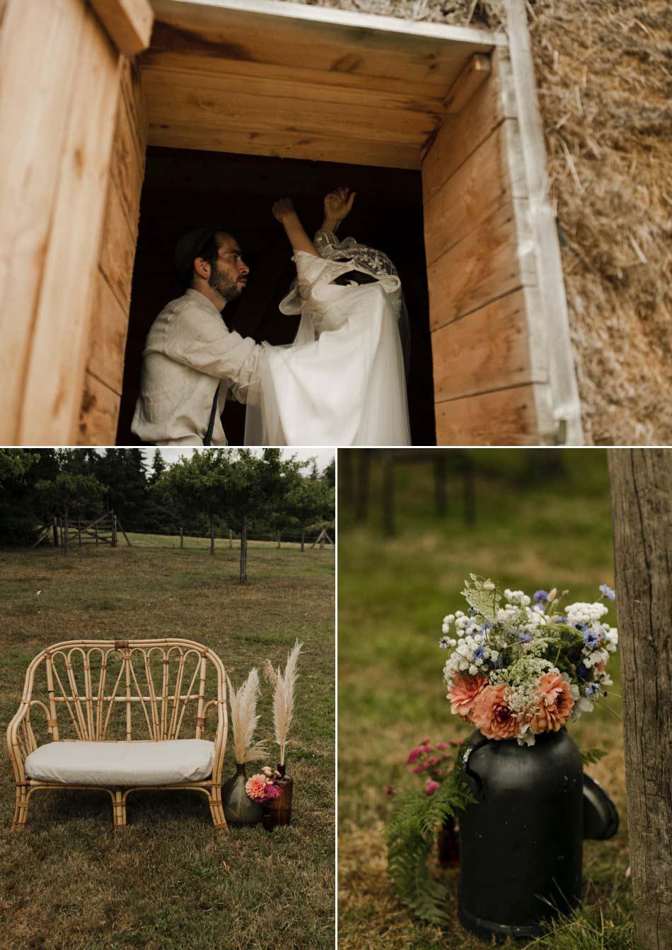 préparatifs de la mariée dans une cabane Normande