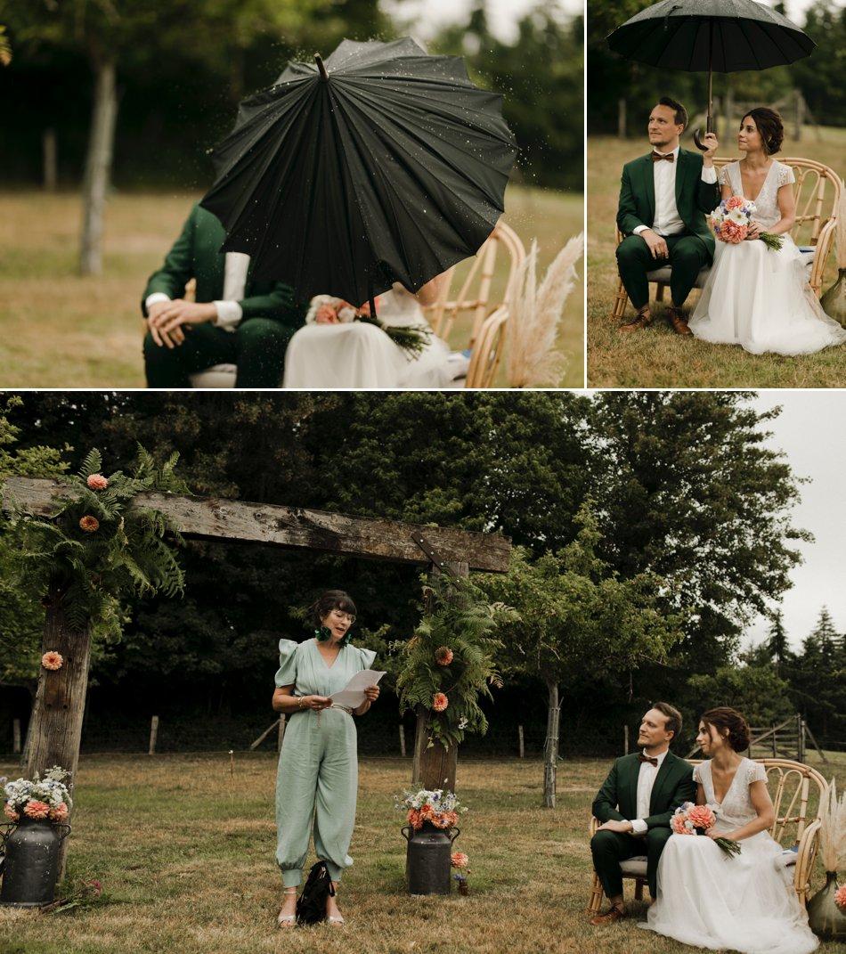 mariage pluvieux en normandie