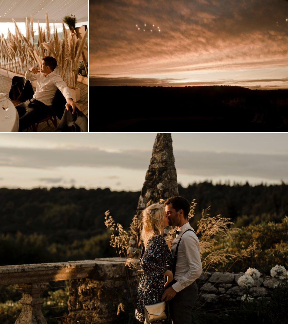 coucher de soleil sur un mariage breton