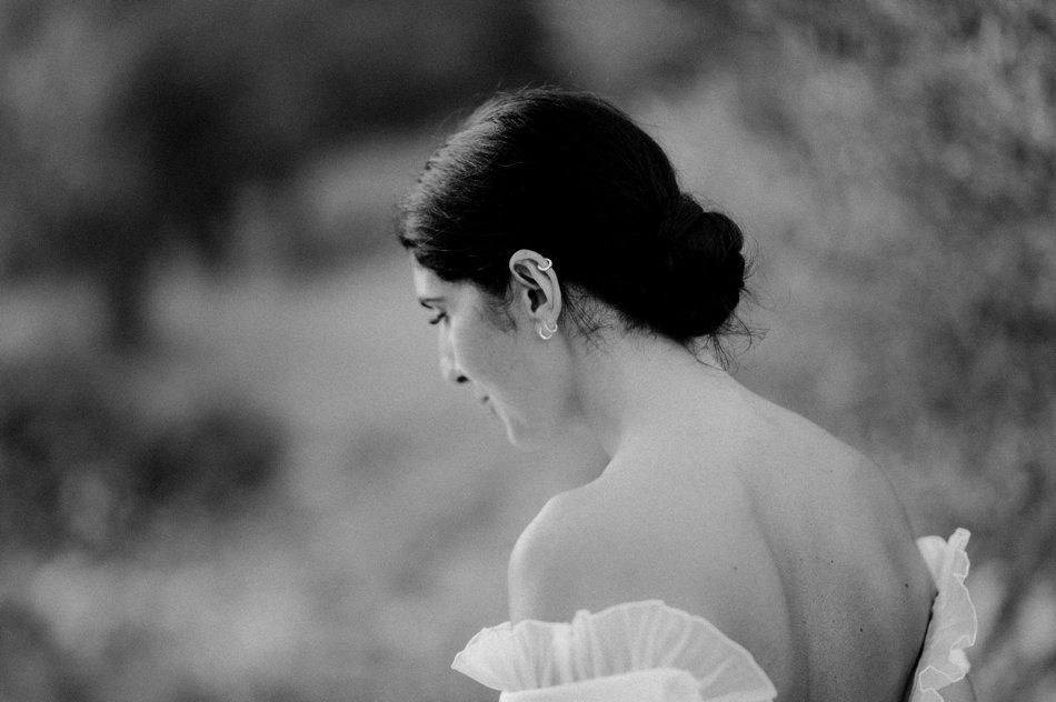 portrait de mariee en noir et blanc