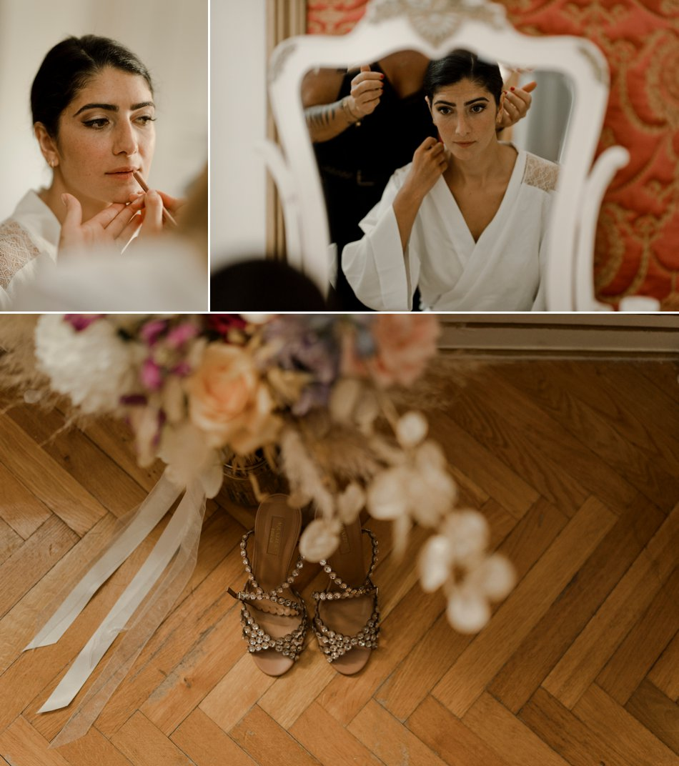 chaussures et bouquet de mariee